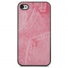 Jeans Pattern Protective Plastic Back Case for Iphone 4S - Pink