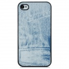Jeans Pattern Protective Plastic Back Case for iPhone 4S - White
