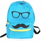 Casual Stylish Glasses Pattern Canvas Backpack - Blue