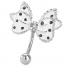 Butterfly Style Edelstahl Belly Button Ring - White + Black