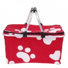 Folding tragbare Warenkorb Picnic Hand Basket - Silber + Red + White + Black