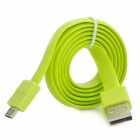 Ebai USB 2.0 Male to Micro USB Male Data Charging Flat Cable - Yellow Green (80cm)
