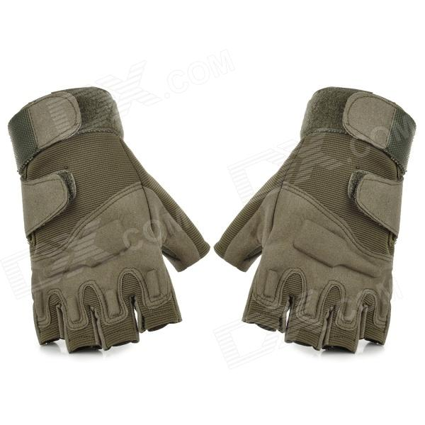 SW3010 Outdoor Climbing Windproof Half Finger Super Fiber + Nylon Glove - Army Green (Pair / Size M)