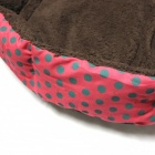 Polka Dot Plush Dog Cat Pet Nest Bed - Red + Brown (Size L)