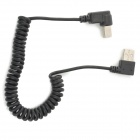 Right Angle USB 2.0 Type-A Male to USB Type-B Male Printer Spring Cable - Black