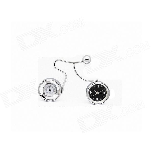 Cycling Man Style Analogue Clock w/ Thermometer - Silver (1 x LR44)