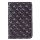 Stylish Portable PU Leather +Aluminum Alloy Magnet Business Card Case - Black + Purple