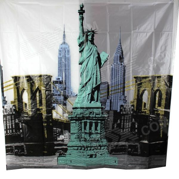 Statue of Liberty Thickening Shower Curtain - White + Black + Green (180 x 180cm) lotus landscape print 180 180cm polyester shower curtain