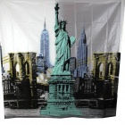 Statue of Liberty Thickening Shower Curtain - White + Black + Green (180 x 180cm)