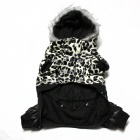 Pet Dog Waterproof Double Layer Leopard Pattern Jacket - Black + White (Size L)