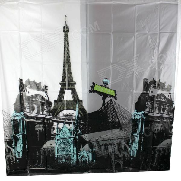 Eiffel Tower Thickening Shower Curtain - Black + White (180 x 180cm) lotus landscape print 180 180cm polyester shower curtain