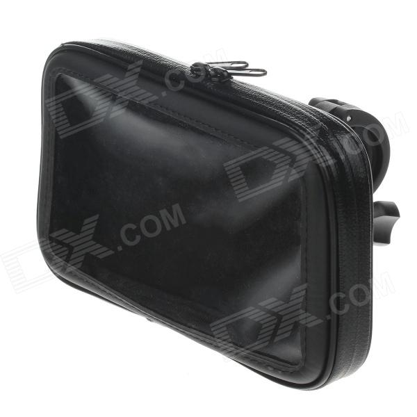 M05 360 Degree Rotation Bracket w/ PU Leather Waterproof Bag for 6.3 Inch Mobile Phone - Black