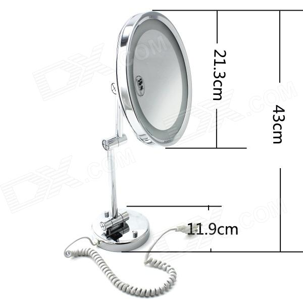 Brass Wall Mounted Ribbon Lamp 8.5 Round Double Side Cosmetic Mirror - Silver (220V) high quality 9 brass 1x3x magnifying bathroom wall mounted round 25 led cosmetic makeup mirror with lighting mirror 2068