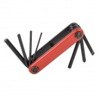 22048 Compact 7-in-1 Durable Steel Repairing Tool Kit for Bicycle - Black + Red