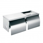 Wall Mount Stainless Steel Double Paper Towel Holder - Silver