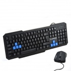 RAJFOO Waterproof Eagle Speed USB Wired Keyboard & Mouse Kits - Black + Blue