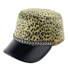Fashionable Leopard-Print Flat Hat - Golden + Black