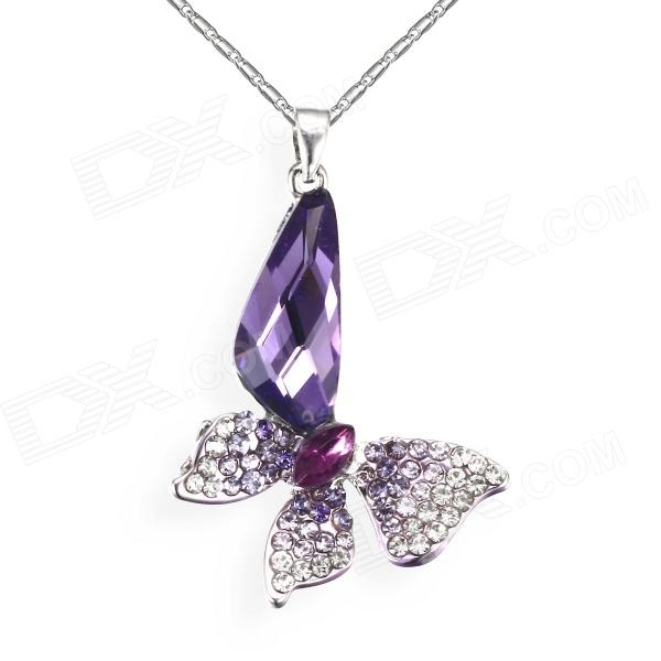 eQute PCOW4C6 Fashionable Butterfly Pendant Necklace - Purple + Silver equte psiw3coot1 s925 sterling silver necklace cat s eye axe pendant chain white silver 16