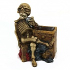 Resin Microphone Skeleton Pen Holder- Brown