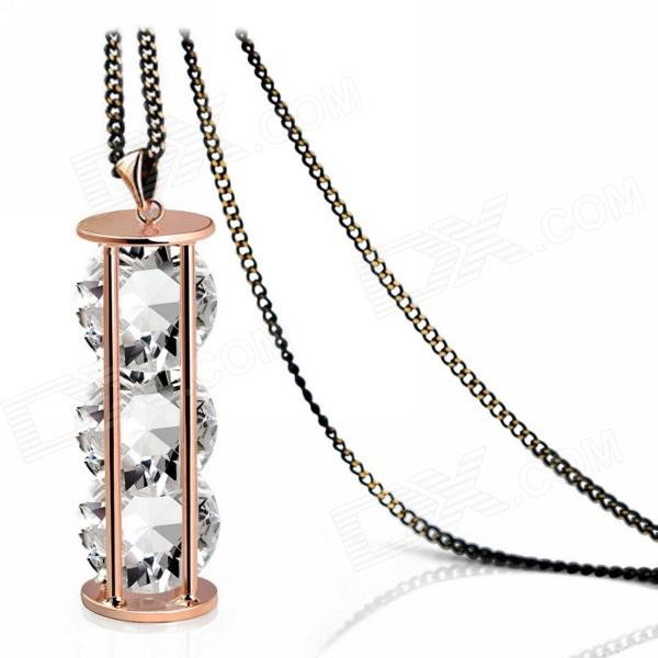 eQute SPEW16C3 18k Gold Plated Hourglass + Three Clear Crystal Pendant Long Sweater Chain - Golden equte ppew3c3 cool cartoon gold plated big insect pendant necklace black golden