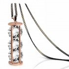 SPEW16C3 18k Gold Plated Hourglass + Three Clear Crystal Pendant Long Sweater Chain - Golden