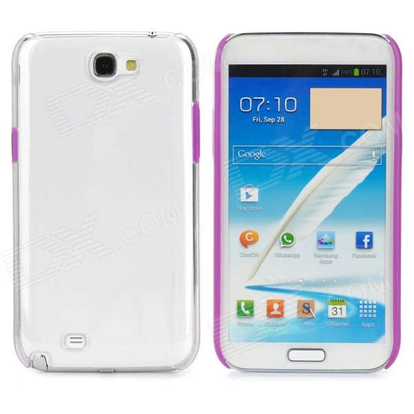 Protective Plastic Hard Back Case for Samsung Galaxy Note 2 N7100 - Purple + Transparent nillkin protective plastic back case w screen protector for samsung galaxy note 2 n7100 yellow