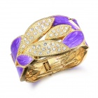 eQute BPEW17C6 Retro Tone Green Leaf Cuff Bracelet - Purple + Golden + White