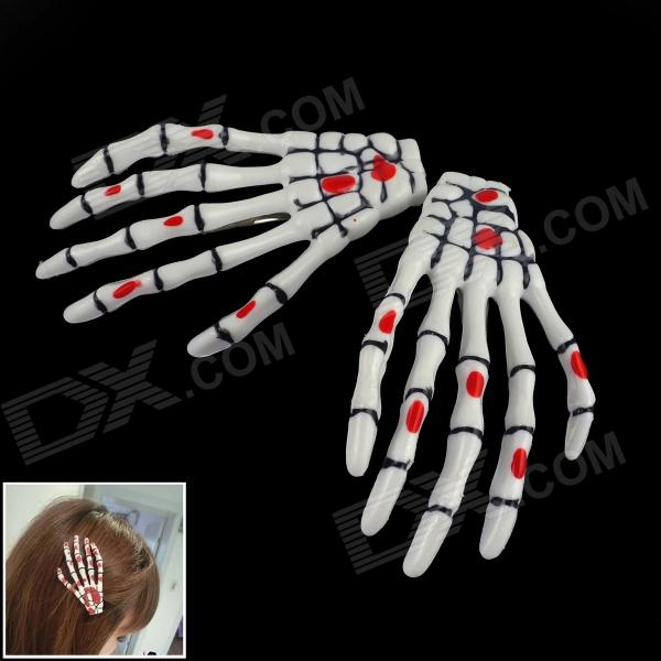 Cool Skeleton Hand Style Decorative Hairpins - Black + White + Red (2 PCS)