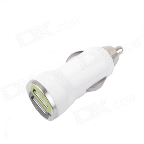 AYA-031 1A / 2.1A Dual-USB Car Cigarette Lighter Charger - White (DC 12V)