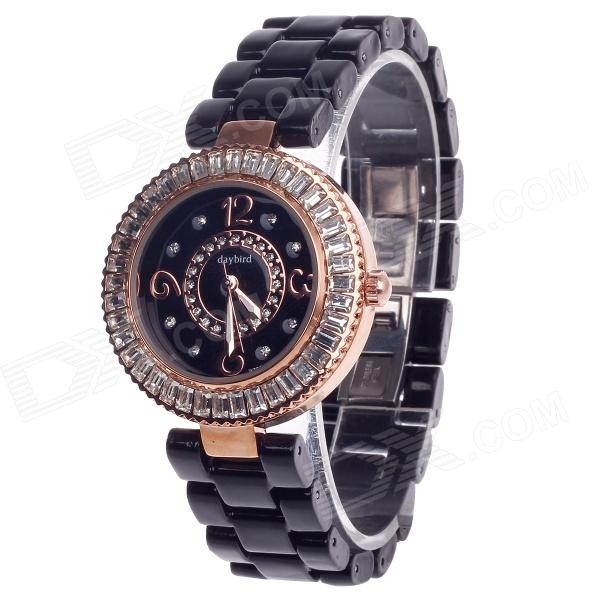 Daybird 3798 Ceramic Band Quartz Women's Wrist Watch w/ Rhinestone - Black + Rose Gold (1 x LR626) daybird 3791 ceramic band quartz women s wrist watch w rhinestone black rose gold 1 x lr626