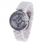 Daybird 3798 Ceramic Band Quartz Women's Wrist Watch w/ Rhinestone - White + Silver (1 x LR626)