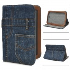 Stylish Jeans Pattern Protective Flip-open PU Leather Case w/ Holder for Samsung Galaxy - Deep Blue