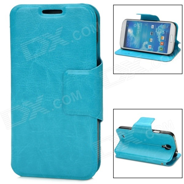 Protective Flip-open PU Leather Case w/ Card Slot for Samsung i9500 / S4 - Sky Blue protective flip open pu case w card slot stand for ipad air 2 sky blue