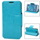 Protective Flip-open PU Leather Case w/ Card Slot for Samsung i9500 / S4 - Sky Blue