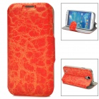 70025  Protective Flip-open PU Leather Case w/ Card Slot / Holder for Samsung S4 - Red