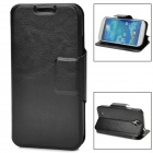 Protective Flip-open PU Leather Case w/ Card Slot for Samsung i9500 / S4 - Black