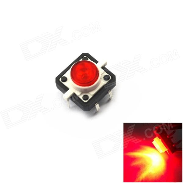 Jtron 20010009 Light Touch Switches w/ Red Light - Red + Black (10 PCS / 12 x 12mm)