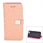 Comb Pattern PU Leather Flip Case w/ Card Slots for Iphone 5C - Coffee