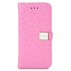 Diamond Pattern Protective PU Leather Case w/ Stand for Iphone 5C - Deep Pink