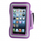 Sports Gym PU Armband Case for Iphone 5C - Black + Purple