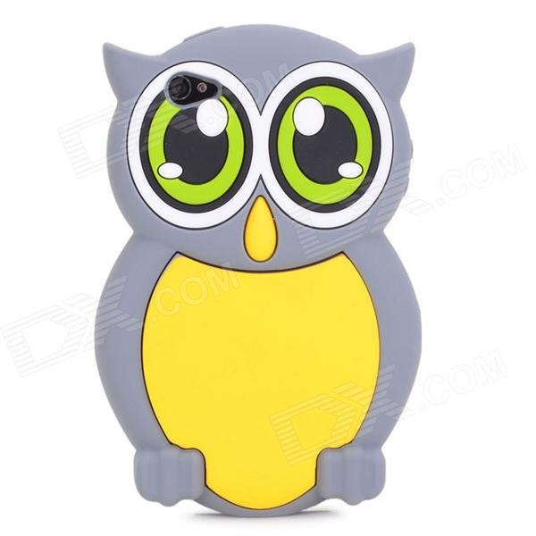 Cute 3D Owl Pattern Silicone Back Case for Iphone 4 / 4S - Grey + Yellow cute owl pattern tpu back case for iphone 6 plus 5 5 yellow orange multi color