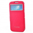 GUCEEL Protective PU Leather Case Cover Stand w/ Visual Window for Samsung Galaxy S4 - Deep Pink