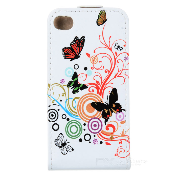 Butterfly Pattern Stylish Up-Down Flip-Open PU Case for Iphone 4 / 4S - Multicolored butterfly bling diamond case