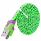 Plastic USB Male to Data Sync & Charging Flat Cable for Samsung / HTC - Green + Black (100cm)