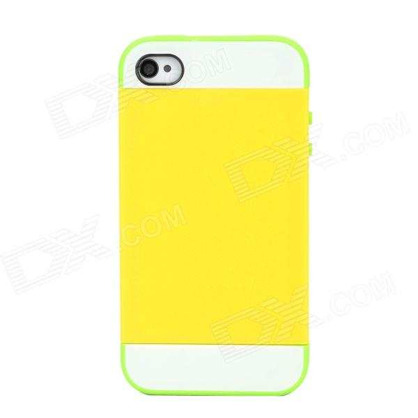 NX CASE Detachable Protective Back Case for Iphone 4 / 4S - Yellow + Green cartoon pattern matte protective abs back case for iphone 4 4s deep pink