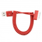 USB 2.0 auf 30-Pin Data / Laden Spiralkabel für iPhone 4 / 4S - Rot