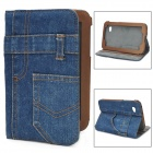 Stylish Jeans Pattern Protective PU Leather Case w/ Holder for Samsung Galaxy P3100 - Deep Blue