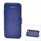 Protective PU Leather + TPU Flip Stand Case for Iphone 5C - Blue
