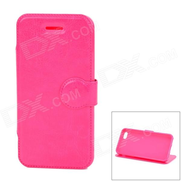 Protective PU Leather + TPU Flip Stand Case for Iphone 5C - Deep Pink pickogen he 077 uv fisheye macro wide angle camera lens with led for iphone samsung pink