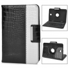 Alligator Pattern Protective PU Case w / Keyboard Bluetooth V3.0 für Samsung N5100 - Schwarz + Weiß